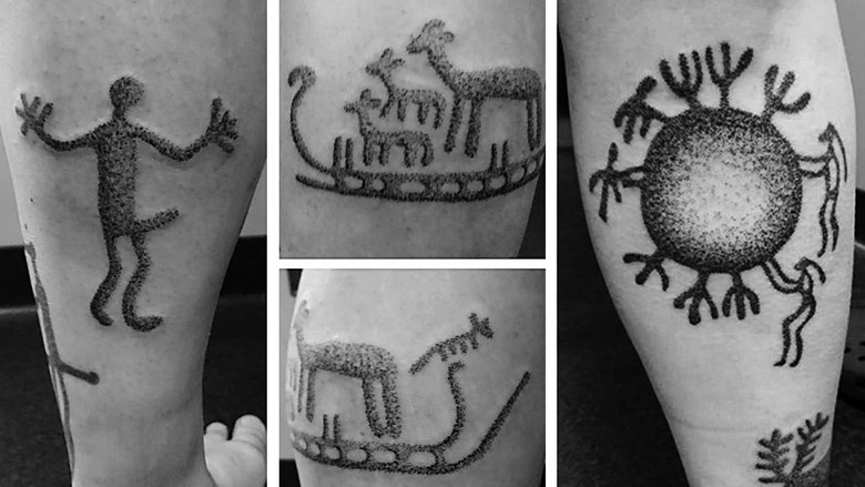 Pictures of tattoos with rock art motifs.